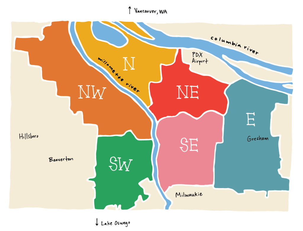Hand drawn illustration of Portland Oregon divided by neighborhoods and rivers