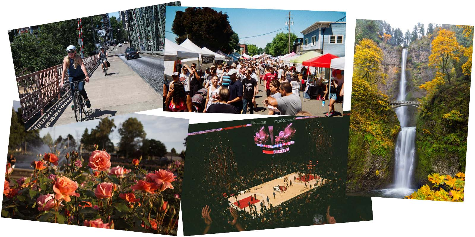 A photo collage of Portland Oregon including bicyclists, street fairs, a Portland Trail Blazers basketball game, Peninsula Park Rose Garden, and Multnomah Falls